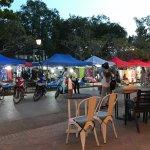 Indigo cafe outdoor seating overlooks the night market.