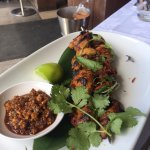 Delicious Chicken skewers with cashew nut sauce