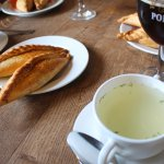 Chicken broth soup just perfect with the pastry