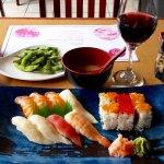 Edamame, mitsu soup, sushi/ maki combo.