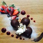 Dark & Decadent Chocolate Marquise with Fresh Berries and Cream