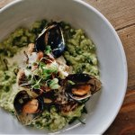 Minted Pea Risotto with Herbed Hake & Mussels