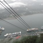 view of harbor and cruise ships while asending Mt. Roberts