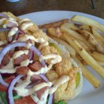 Lunch--shrimp po'boy and fries