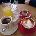(from top left to bottom right) Orange Juice, espresso, tea, chai latte