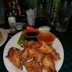Super wings folks. Garlic teriyaki and medium heat. Really good and fresh, flash fried.