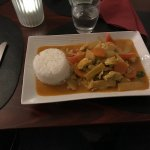 Chicken in red curry, medium spicy and tasty.