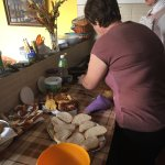 Majda and staff making breakfast.
