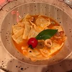 Caramelle pasta with fish soup and sea food