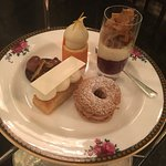Selection of desserts with afternoon tea