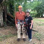 The two of us looking nervous before our first zipline experience.