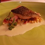 Kids Meal: Trout on a bed of corn risotto and sauce.
