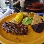 steak, corn, black beans & tortilla chips with guacamole