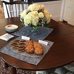 afternoon tea with Belgian chocolate tarts and cranberry cookies