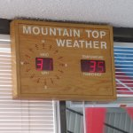 Sign at base w/weather conditions at the top (it was 60 w/calm winds when we boarded