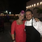 Laura with the great Chef Roberto. Fabulous evening. Great outdoor bistro.