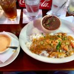 Crawfish Bisque and Redfish with Crawfish Etouffee