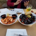 Shrimp, mussels and beer.