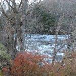 Waters flowing along Nankai mountain and autumn foliage