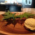 Manitol sugar Walnut Shell stuffed with Foie Gras, chestnut cream and dried fig