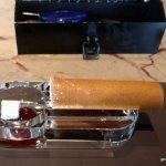 Cigar confit, cucumber, onion and ash tapioca.