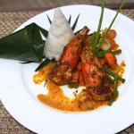 Curried king prawn with Stem Rice