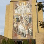 Touchdown Jesus, across from the reflecting pool and clearlyvisible form Notre Dame Stadium