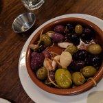 Olives and boquerones