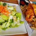 Salad and fish and chips.