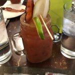 Bloody Mary w/ dill pickle and bacon twizzler