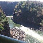 The view of the Zambezi river and the Batoka gorge during an adventurerous walk under bridge