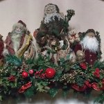 Antique Santas decorate the reception room's mantle.