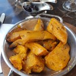 sweet potatoes roasted with herbs. Halloumi salad