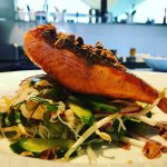 Crispy Salmon on a Salad of Rice Noodles, Fresh Herbs and Lime