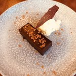 Chocolate Mousse cake with chocolate tuille and pistachio ice cream
