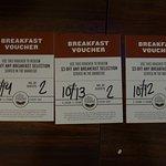 Breakfast vouchers, one per night