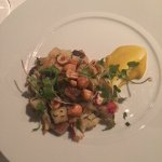 Tiny seared gnocchi with lobster, hazelnuts and a swirl of butternut squash. Exquisite.