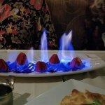 Strawberries flambéed in 151 rum