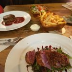 Duck and Beef mains with house salad and fries