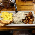 "chicken fried steak with eggs and ""gators"""