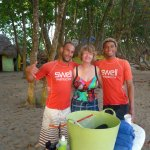 Surf instructors Ricki & Jeffry with me at Encuentro Beach.