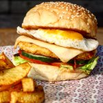 Chicken burger served with home made fresh French fries - lunch & dinner