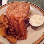1/3 burger patty on sesame seed bun (added onions), seasoned waffle fries, dipping sauce