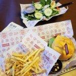 Burger and fries and a burger, fries and salad #yum