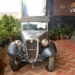 The 1926 Austin in the courtyard of Ciff Top Restaurant, Ooty.
