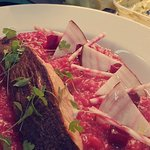 Beetroot Risotto, Pan Fried Salmon, Pickled Beetroot, Candied Beetroot