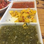 The salsa trio - tomatillo, mango, and habanero salsas!