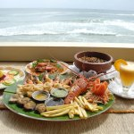 seafood selection with ocean view