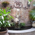 The fountain behind our table in the courtyard.