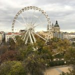 """View from the 6th floor over the Budapest """"Eye"""" and St Stephen's Basilica"""